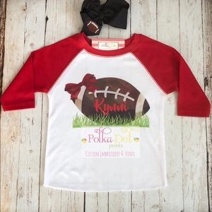 Other - Personalized Football Bow Raglan Shirt